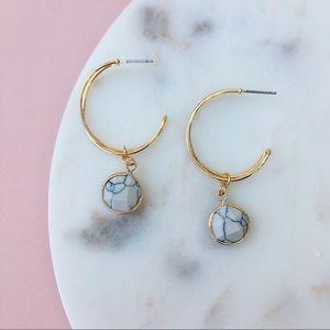 ARIEL Hoop Earrings - WHT/BLK
